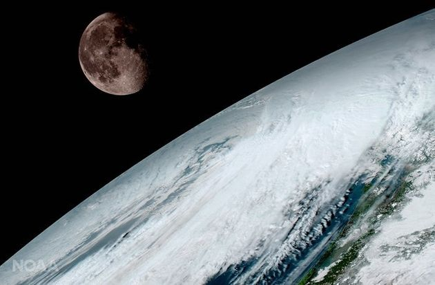 The moon as seen from geostationary orbit 22,300 miles above the equator on Jan. 15. GOES-16 uses the...