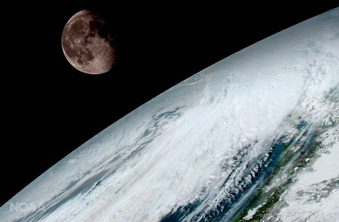 The moon as seen from geostationary orbit 22,300 miles above the equator on Jan. 15. GOES-16 uses the moon for calibration, according to the NOAA.