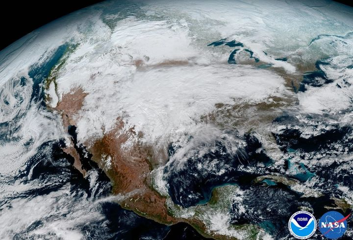 A massive storm system moves across the United States in this image captured aboard GOES-16 on Jan. 15.