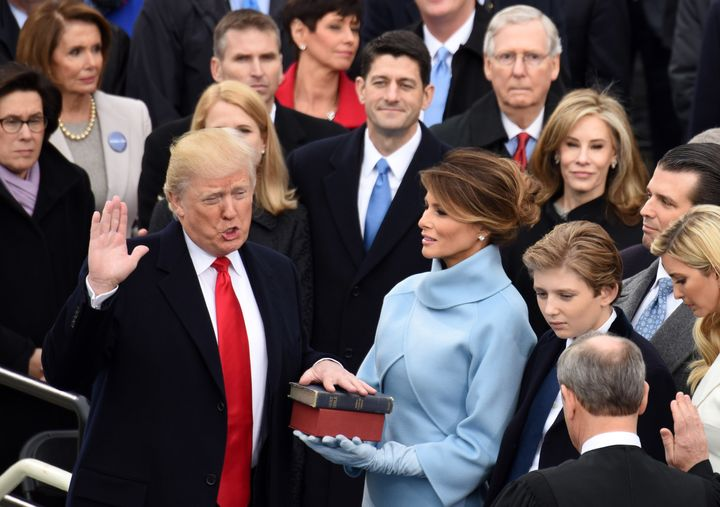 U.S. President Donald Trump takes the oath of office during the presidential inauguration ceremony in Washington D.C. on Jan.