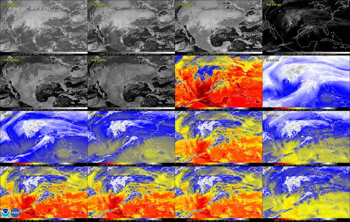 A storm system seen via each of the 16 different wavelengths visible to the ABI. Per NOAA, this includes (from left to right, starting at the top) two in the visible spectrum, four near-infrared and 10 infrared channels.