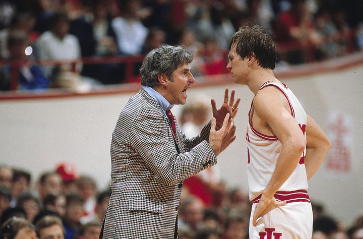 Indiana head coach Bob Knight with Tom Kitchel (#30) during a game vs Northwestern. Bloomington, Indiana, Feb. 19, 1983.