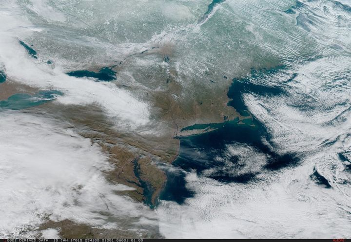 Severe weather passes through the Northeast and central U.S. on Jan. 15 in this image captured from GOES-16.