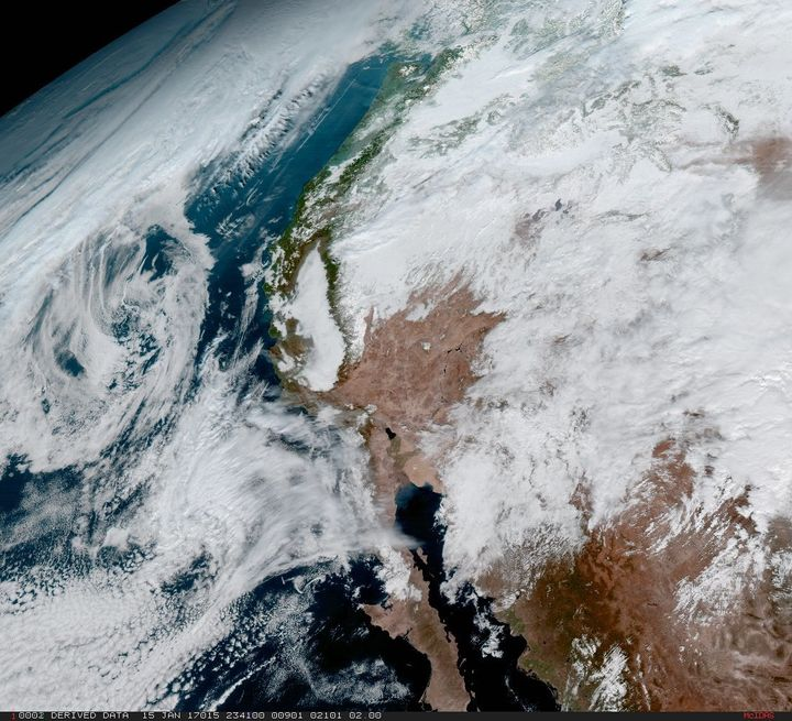 GOES-16 captured this image of the west coast of the United States and the Baja Peninsula in Mexico on Jan. 15.