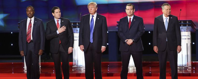 Then-Republican presidential candidate Donald Trump prepares for a primary debate in February, 2015.