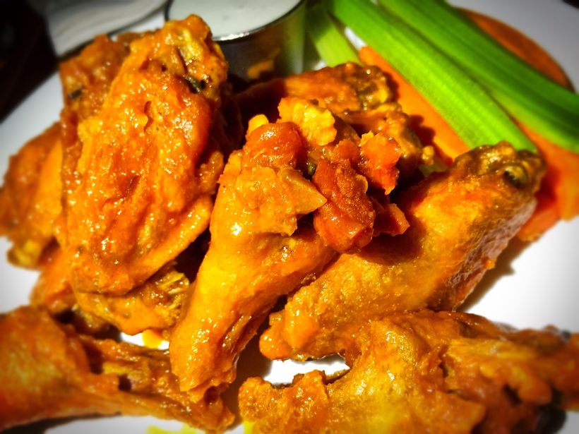 Perfectly crisp and sauced wings