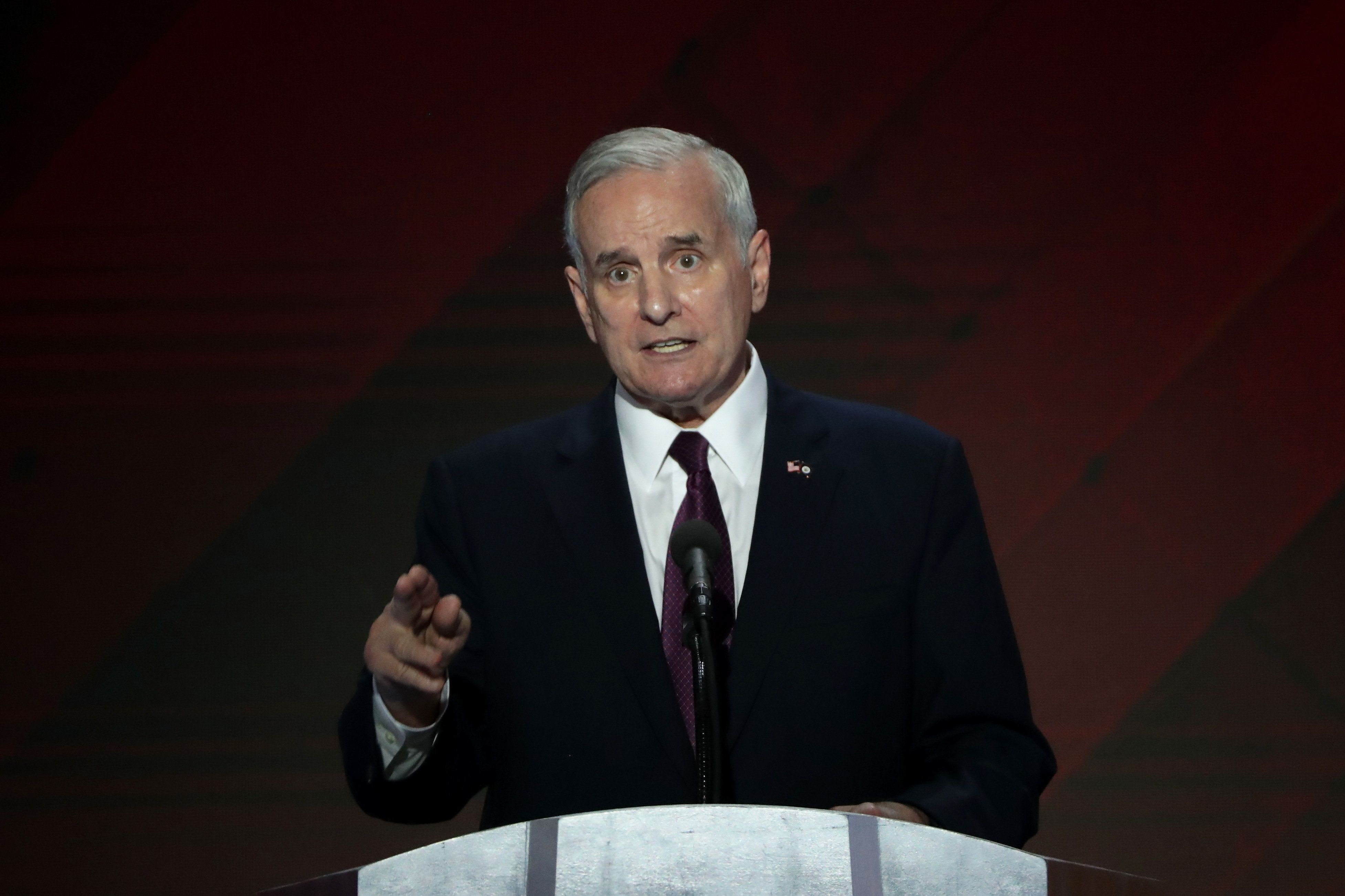 PHILADELPHIA, PA - JULY 28: Minnesota Governor Mark Dayton delivers remarks on the fourth day of the Democratic National Convention at the Wells Fargo Center, July 28, 2016 in Philadelphia, Pennsylvania. Democratic presidential candidate Hillary Clinton received the number of votes needed to secure the party's nomination. An estimated 50,000 people are expected in Philadelphia, including hundreds of protesters and members of the media. The four-day Democratic National Convention kicked off July 25. (Photo by Alex Wong/Getty Images)