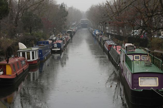 The frozen surface of the Grand Union Canal in Little Venice,