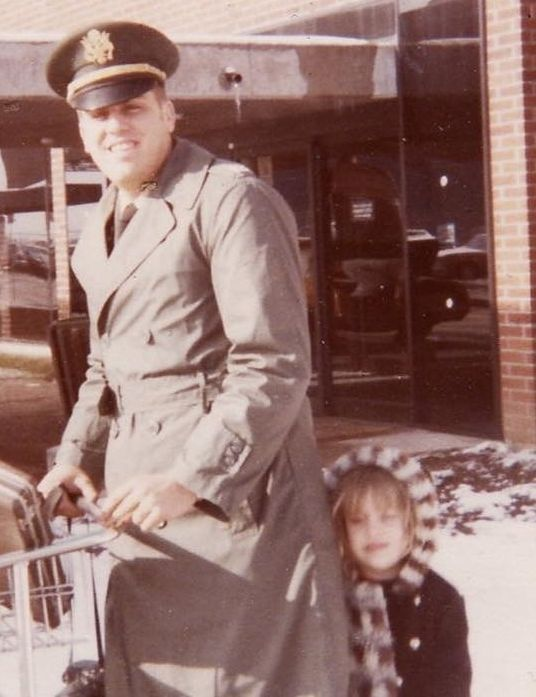 The author's father and sister outside of Springfield airport.