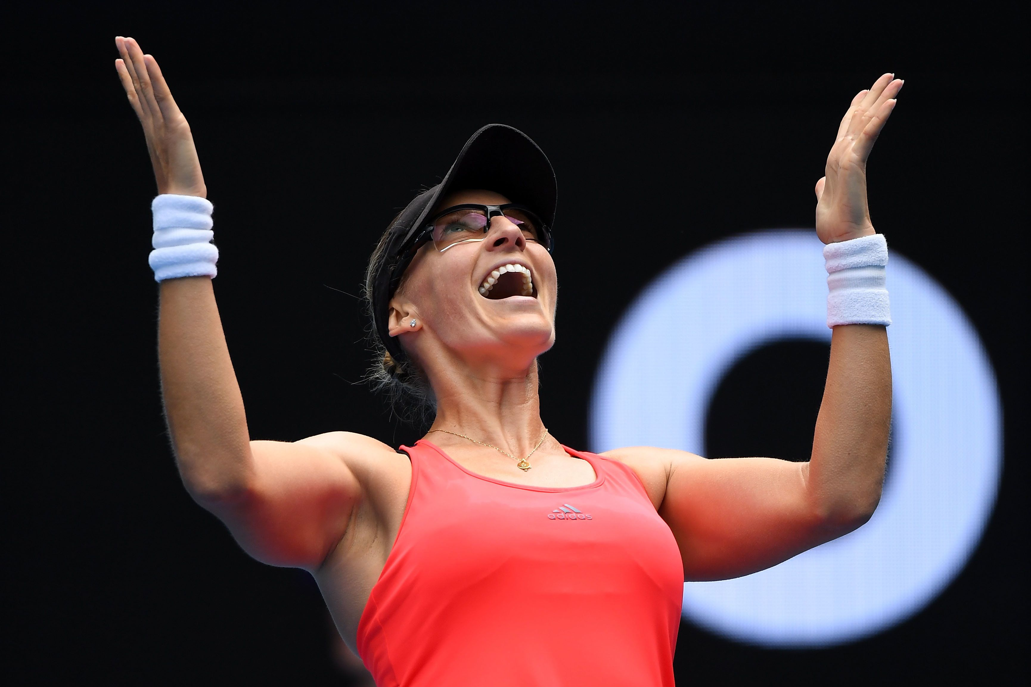 MELBOURNE, AUSTRALIA - JANUARY 23:  Mirjana Lucic-Baroni of Croatia celebrates winning her fourth round match against Jennifer Brady of the United States on day eight of the 2017 Australian Open at Melbourne Park on January 23, 2017 in Melbourne, Australia.  (Photo by Quinn Rooney/Getty Images)