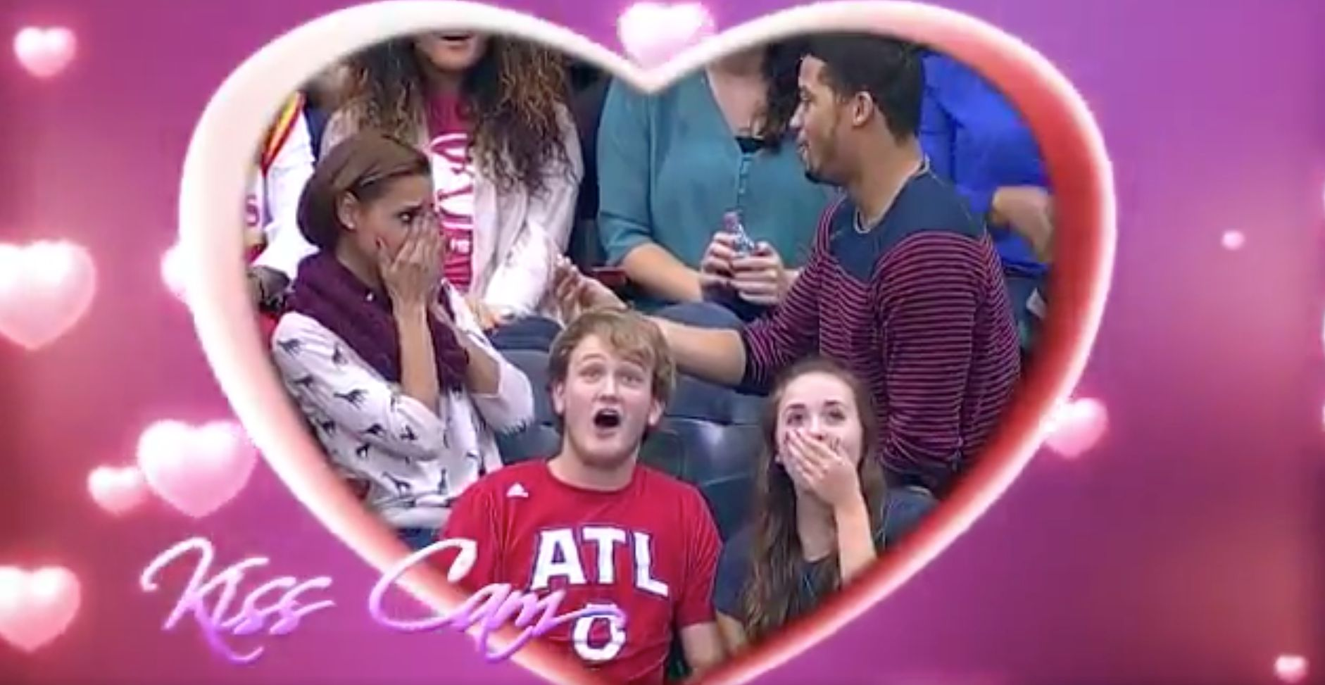 Boyfriend's Kiss Cam Proposal At Basketball Game Does Not End