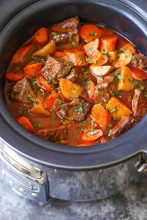 "<strong>Get the <a href=""http://damndelicious.net/2016/10/07/slow-cooker-beef-stew/"" target=""_blank"">Slow Cooker Beef Stew re"