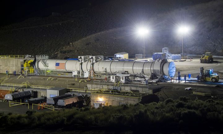 The Space Launch System's booster on June 28, 2016 in Promontory, Utah.