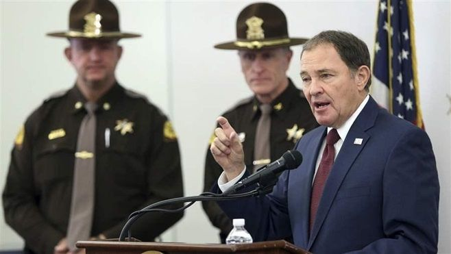 Utah's Republican Gov. Gary Herbert talks about his latest budget proposal at state police headquarters. Utah is among the st