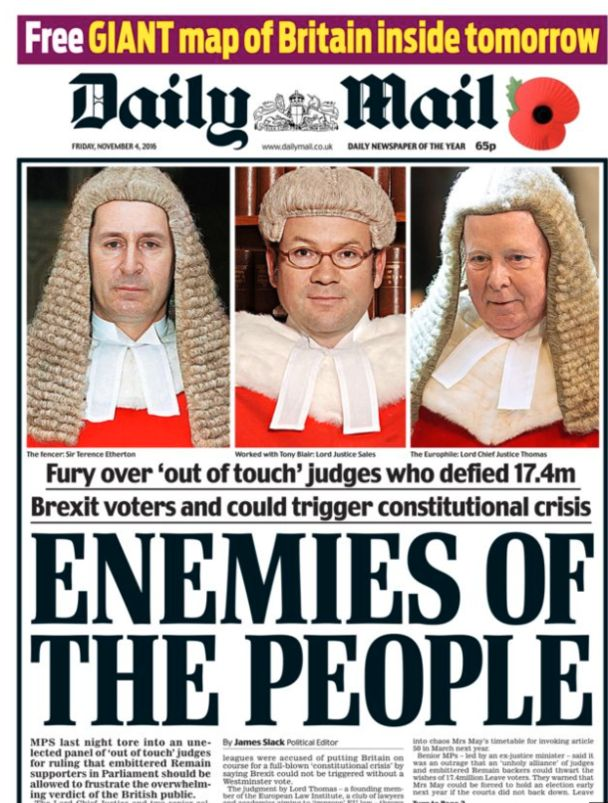 High Court judges were slammed as 'enemies of the people' after they ruled Parliament alone had the power...