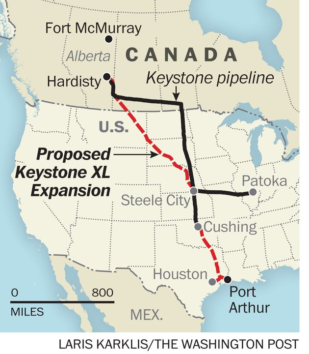 A map shows where the Keystone XL, an extension of the existing Keystone pipeline, would