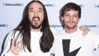 LOS ANGELES, CA - JANUARY 17:  Recording artist Steve Aoki and singer Louis Tomlinson visit the Launch of 'Hits 1 in Hollywood' on SiriusXM Hits 1 at the SiriusXM Los Angeles Studios on January 17, 2017 in Los Angeles, California.  (Photo by Vivien Killilea/Getty Images for SiriusXM)