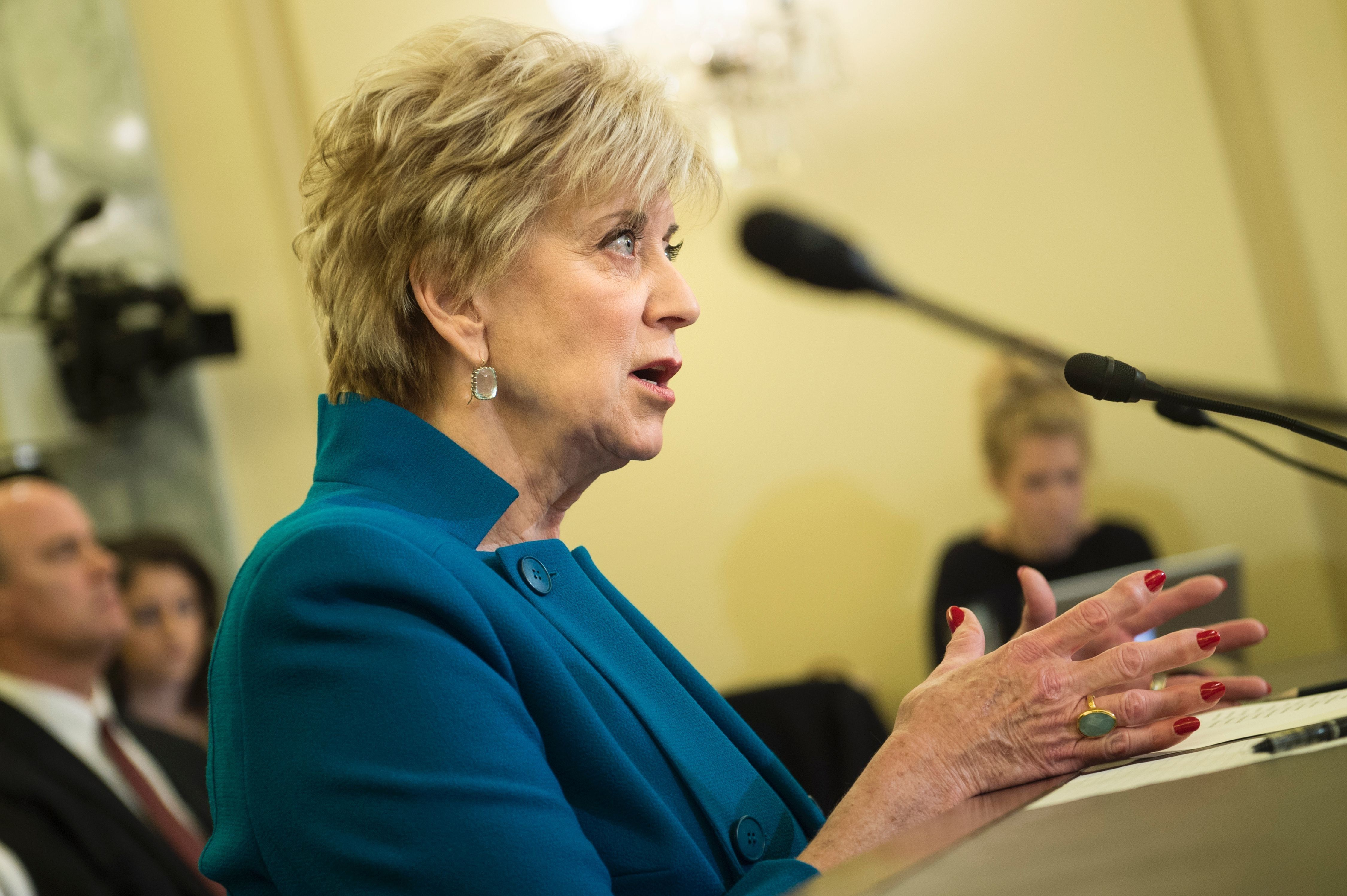 Linda McMahon speaks during her confirmation hearing for administrator of the Small Business Administration before the Senate Small Business and Entrepreneurship Committee on Capitol Hill January 24, 2017 in Washington, DC. / AFP / Brendan Smialowski        (Photo credit should read BRENDAN SMIALOWSKI/AFP/Getty Images)