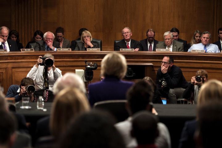 Senate Health, Education, Labor, and Pensions Committee members listen as Donald Trump's pick for secretary of education