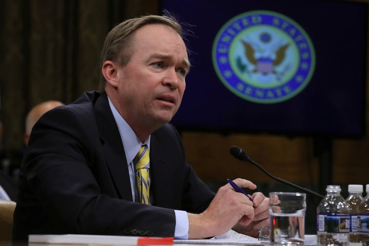 Rep. Mick Mulvaney (R-S.C.) testifies before a Senate Budget Committee confirmation hearing on his nomination of to be direct