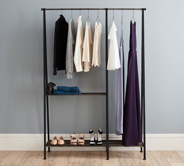 "<i>Antique Gray Modular Clothes Rack, $249 at <a href=""http://www.potterybarn.com/products/antique-gray-modular-clothes-rack/"