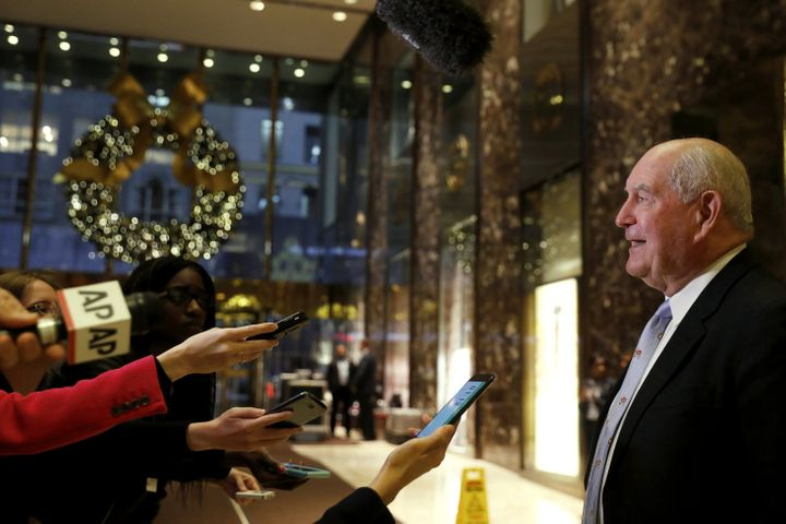 Former Georgia governor Sonny Perdue speaks to the news media after a meeting at Trump Tower withPresident Donald Trump