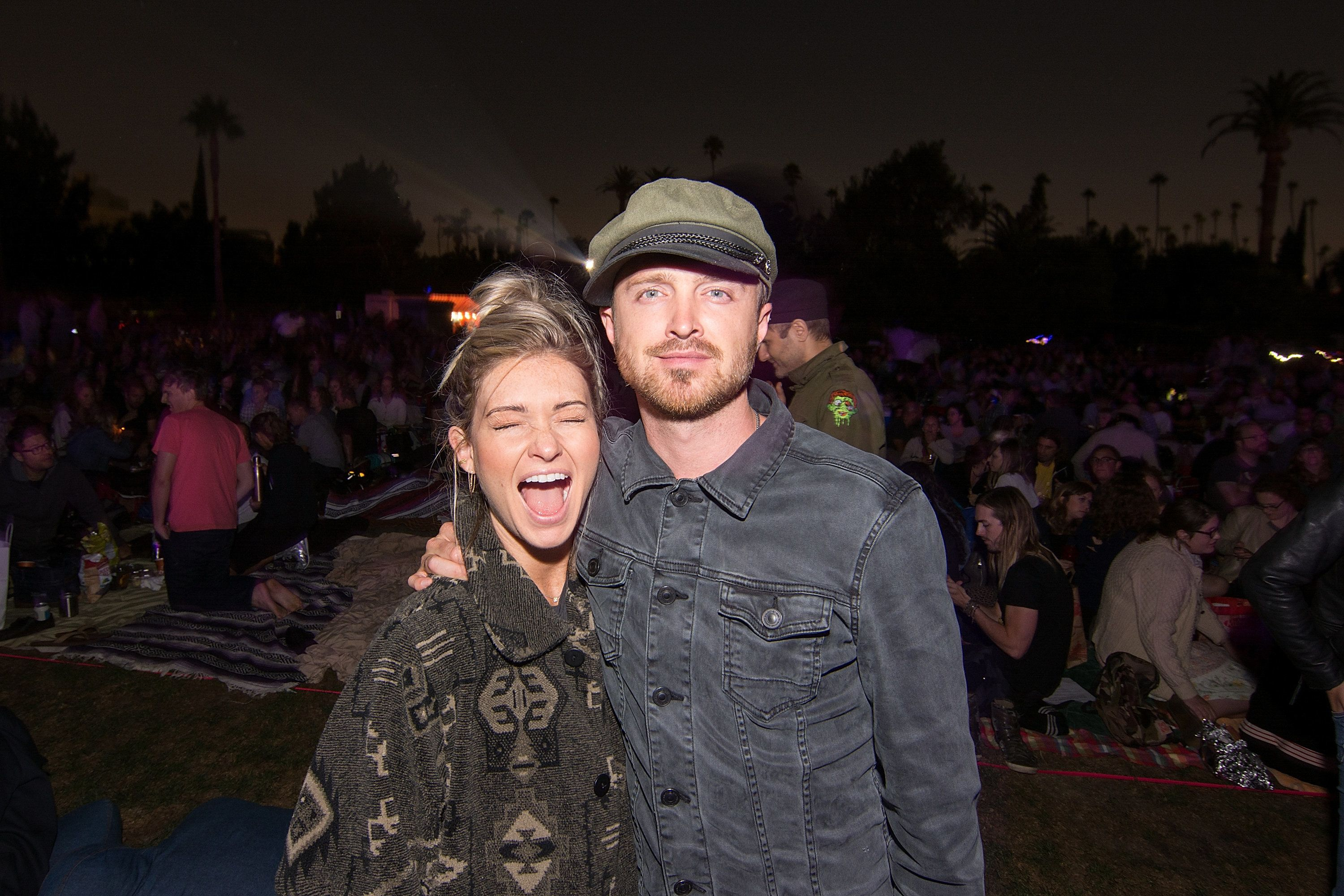 HOLLYWOOD, CA - AUGUST 20:  Aaron Paul and Lauren Parsekian attend Cinespia's screening of '2001: A Space Odyssey' held at Hollywood Forever on August 20, 2016 in Hollywood, California.  (Photo by Kelly Lee Barrett/Getty Images)