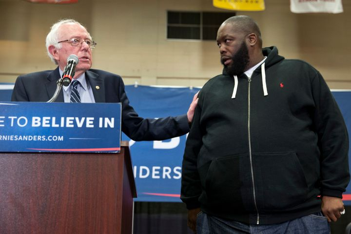 Sen. Bernie Sanders (I-Vt.) after being introduced by Killer Mike at a campaign rally in Orangeburg, S.C.