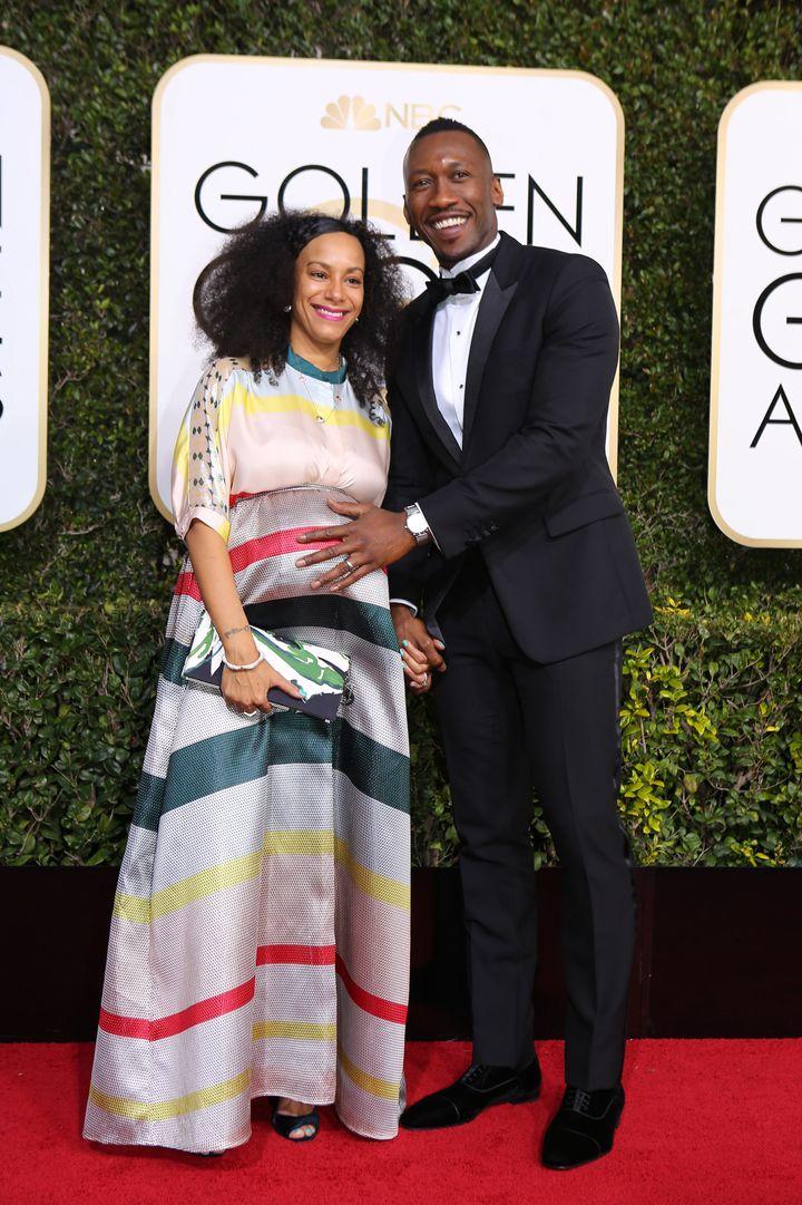 Actor Mahershala Ali and wife, Amatus Sami-Karim, arrive at the 74th Annual Golden Globe Awards in Beverly Hills, California,