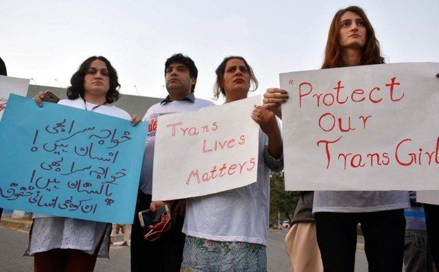 People protest against the sexual assault of transgender people in Islamabad, Pakistan.