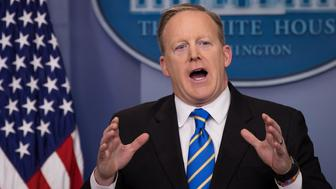 WASHINGTON, DC - JANUARY 24: White House Press Secretary Sean Spicer answers questions during the daily press briefing in the James Brady Press Briefing Room at the White House, January 24, 2017 in Washington, DC. Spicer did not offer evidence to support President Trump's claim that millions of people voted illegally. (Photo by Drew Angerer/Getty Images)