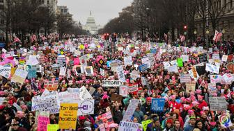 Hundreds of thousands march down Pennsylvania Avenue during the Women's March in Washington, DC, U.S., January 21, 2017.  REUTERS/Bryan Woolston