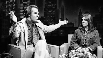 SATURDAY NIGHT LIVE -- Episode 6 -- Air Date 11/18/1978 -- Pictured: (l-r) Dan Aykroyd as Tom Snyder, Carrie Fisher as Linda Blair during 'Tomorrow' skit on November 18, 1978  (Photo by Al Levine/NBC/NBCU Photo Bank via Getty Images)