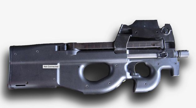 Online conspiracy theorists believe he could have been concealing an FN-P90 rifle (file