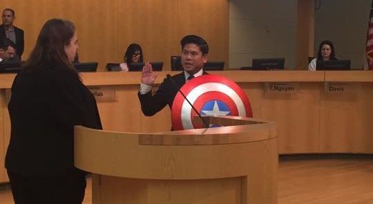 Lan Diep held a Captain America shield during his swearing-in ceremony to San Jose City Council on Tuesday.