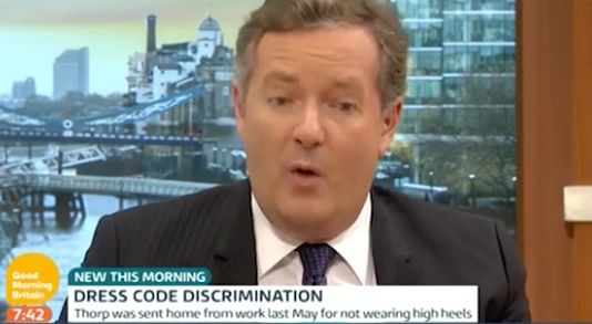 Piers Morgan said he did not think it 'unreasonable' to force women to wear high