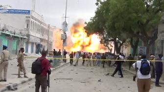A still from a Reuters TV video shows a secondary explosion after a suspected suicide car bomb rammed into the gates of a hotel in Mogadishu, Somalia January 25, 2017.   REUTERS/Reuters TV     TPX IMAGES OF THE DAY