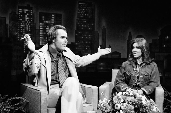 "Dan Aykroyd and Carrie Fisher on ""Saturday Night Live"" in 1978."