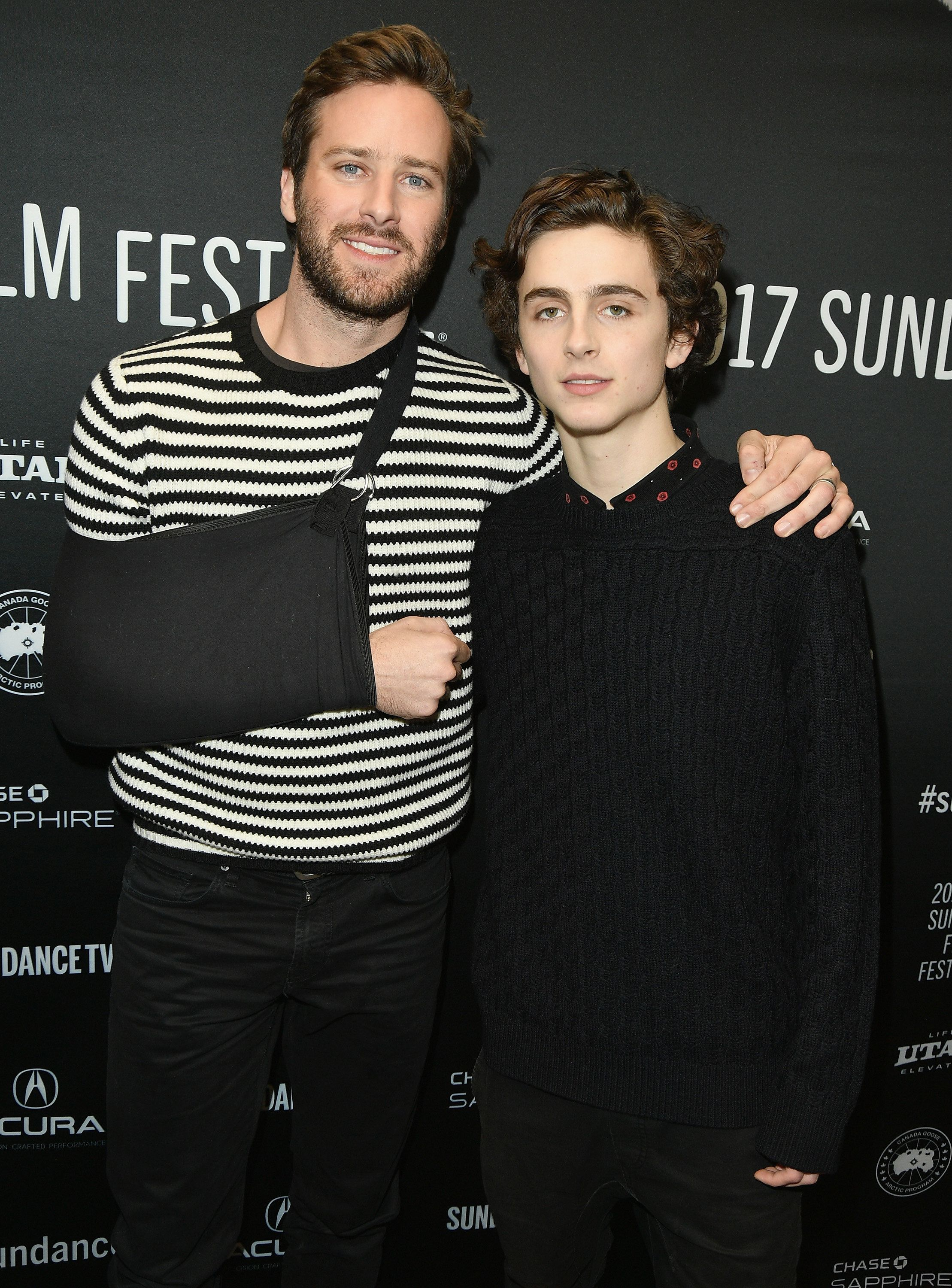 PARK CITY, UT - JANUARY 22:  Actor Armie Hammer and Timothee Chalamet attend the 'Call Me By Your Name' Premiere on day 4 of the 2017 Sundance Film Festival at Eccles Center Theatre on January 22, 2017 in Park City, Utah.  (Photo by George Pimentel/Getty Images for Sundance Film Festival)