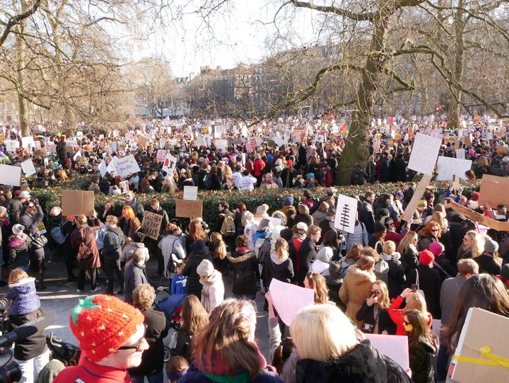 Crowds at the Women's March on London.