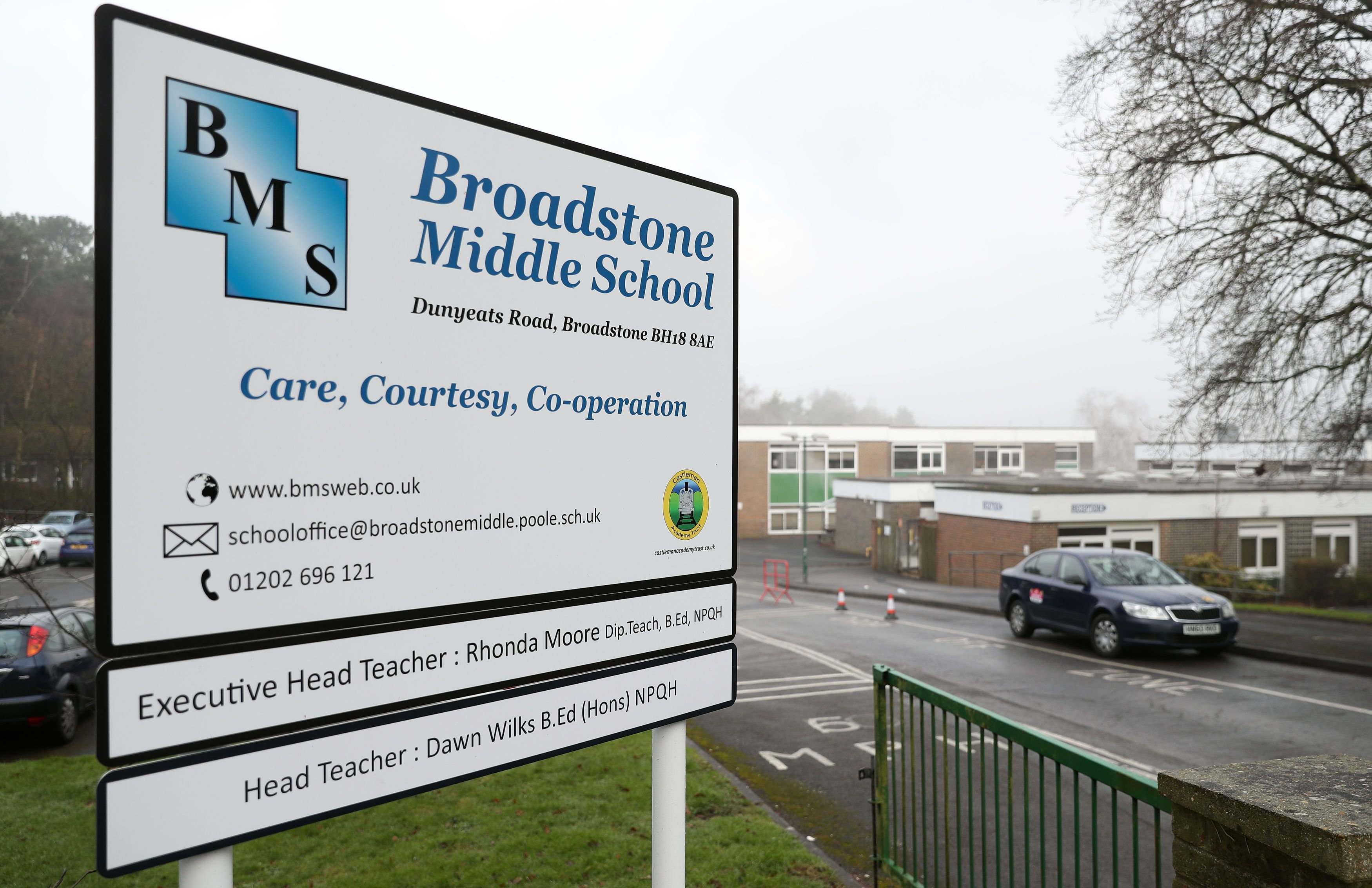 Broadstone Middle School in Dorset, where police were called over fears that some children had taken...