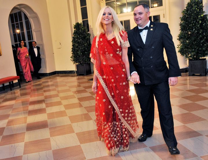Michaele Salahi, left, and then-husband Tareq as they crashed a state dinner at the White House in 2009.