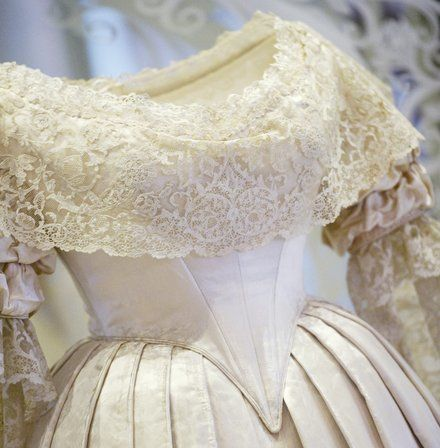 <p>Queen Victoria's wedding dress on display.</p>