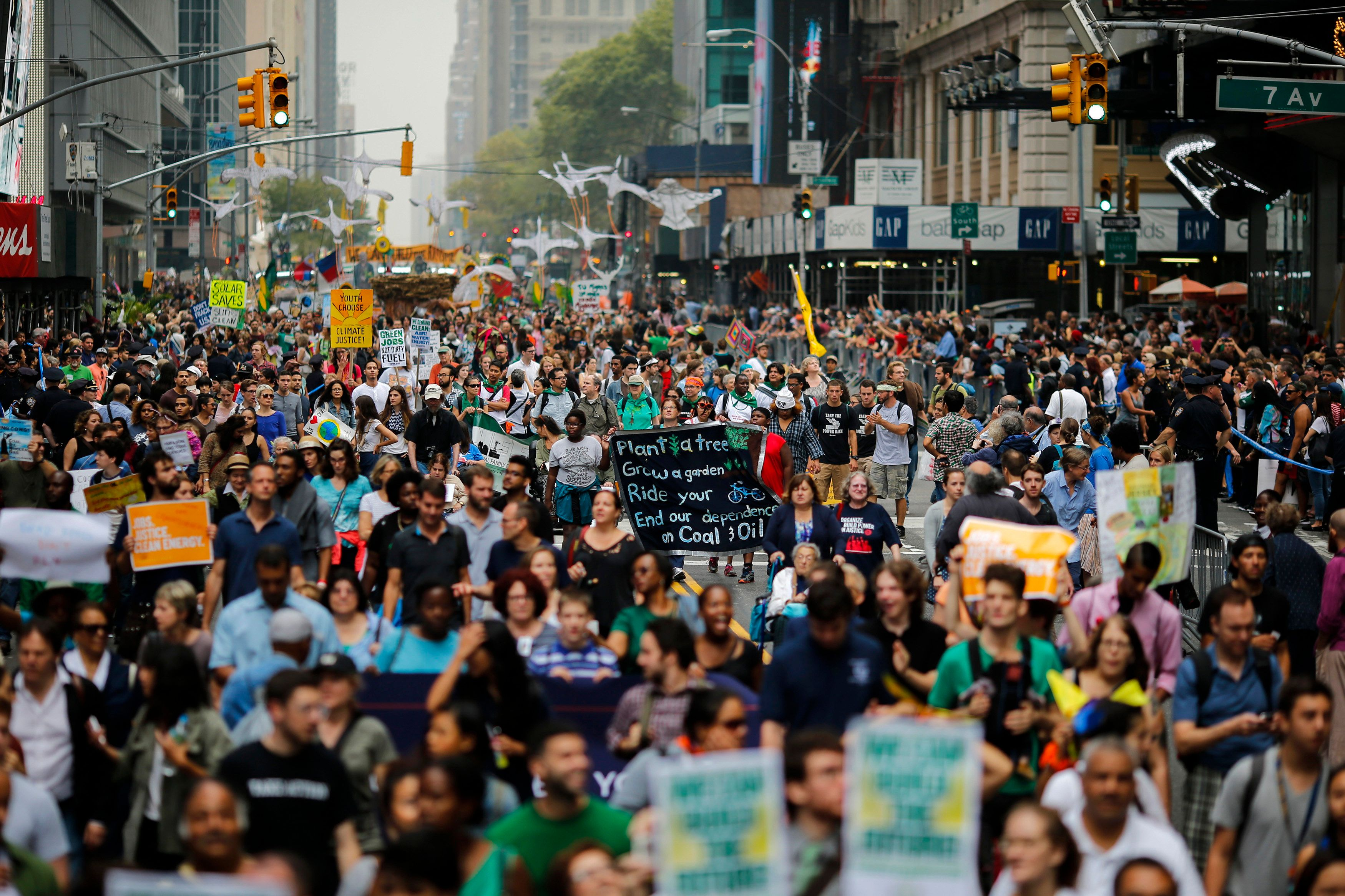 An estimated 400,000 people joined the 2014 People's Climate March in New York City.