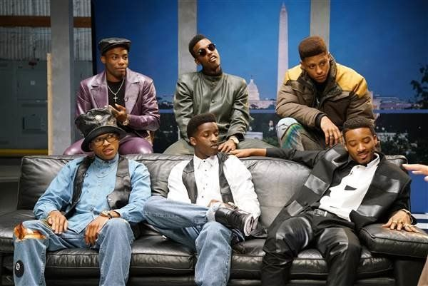 "Bryshere Gray (bottom left) in BET's ""The New Edition Story."""