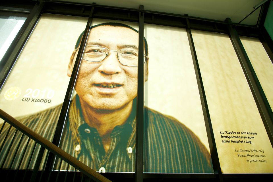 OSLO, NORWAY - OCTOBER 11: . A picture of the 2010 Nobel Peace Prize Laureate Liu Xiaobo is seen at The exhibition ?Be Democr