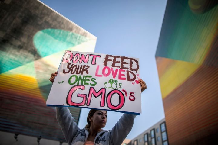 "A demonstrator during one of many worldwide ""March Against Monsanto"" protests in Los Angeles on Oct. 12, 2013."