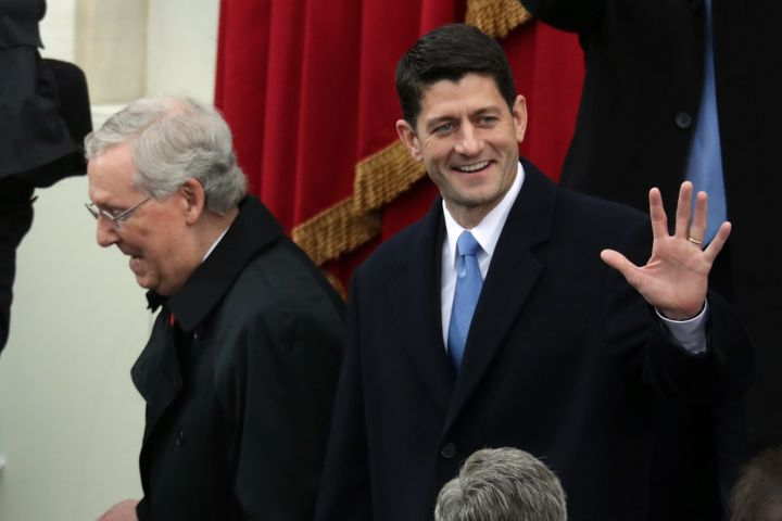 Senate Majority Leader Mitch McConnell (R-Ky.), left, and House Speaker Paul Ryan (R-Wis.), right, laid out congressional Rep