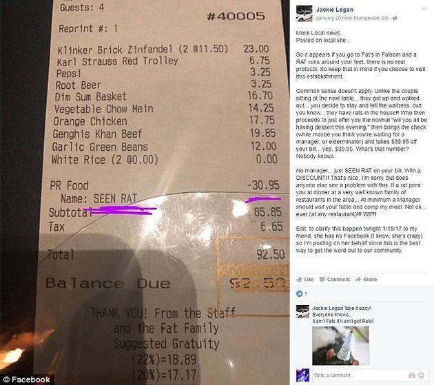 Restaurant Gives Diner A $30.95 'Seen Rat'