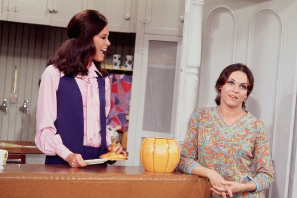 Mary Tyler Moore and Valerie Harper on the set of The Mary Tyler Moore Show in the 1970s.